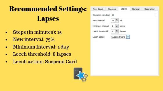 Recommended Settings for Anki Lapses