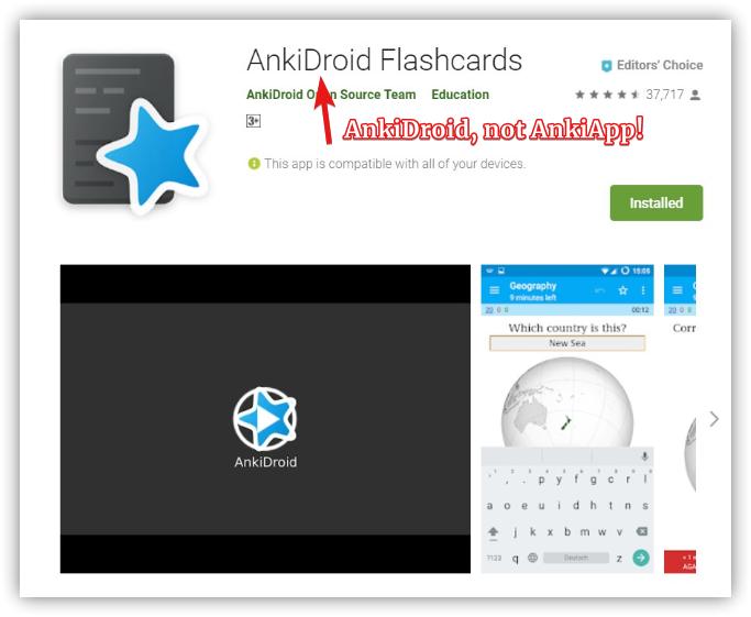 Ankidroid is not Ankiapp
